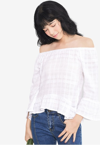 Kodz white Off Shoulder Top D936BAA94E1B66GS_1