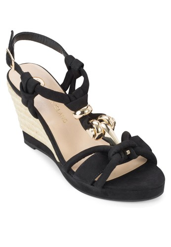 金飾扭結楔形涼鞋, 女鞋zalora 折扣碼, 鞋