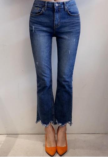 zalora 男鞋 評價磨損褲腳微喇牛仔褲, 服飾, 多色牛仔褲