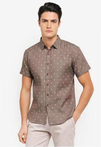 JAXON brown Tribal Motif Short Sleeves Shirt 794EBAAB9E3DCBGS_1