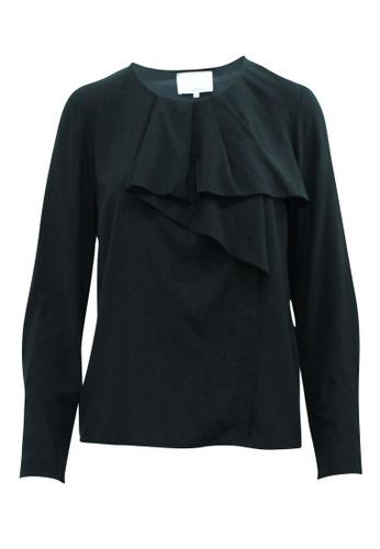 3.1 PHILLIP LIM 黑色 3.1 phillip lim 黑色褶邊女式襯衫 40963AA3374AAAGS_1