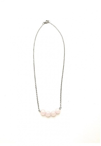 Trinkets for Keeps silver Wish Bar Rose Quartz Stainless Steel Necklace TR047AC52RAHPH_1