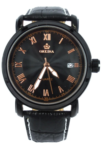 Chronomart black Orkina Men's Quartz Movement Business Styles Leather Strap Wrist Watch CH783AC00VQLPH_1