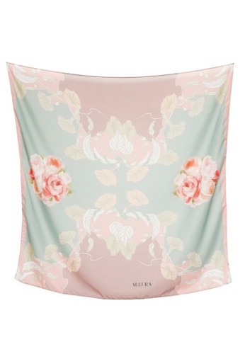 "Modest-Runway Inc. pink and blue and multi ALLURA ""French Macarons"" Pink SILK Scarf/Hijab 4EF9EAADCEF439GS_1"