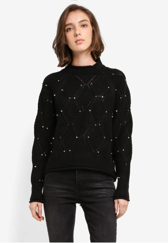 Mango black Studded Knitted Sweater D7A29AA23CA948GS_1