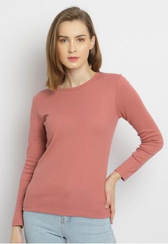 Osella pink Osella Baju Perempuan T-shirt Lengan Panjang Pink Polos 95222AA9D620A0GS_1