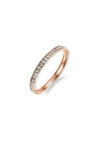 ADORA Stainless Steel Zircon Rose Gold Ring AD365AC2VU8HHK_1