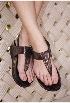 ANDREA metallic pewter sling-buckled-back thong flops