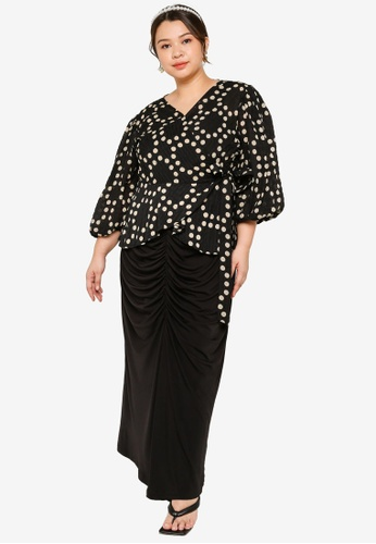 Lubna black and white Plus Size Wrap Top With Ruching Skirt Set 56898AA862C5A5GS_1