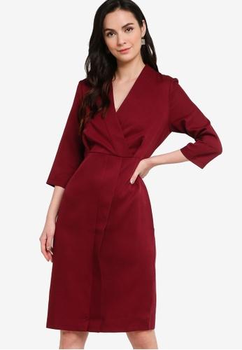 ZALORA WORK red Wrap Midi Dress AE48EAA6E2D8F2GS_1