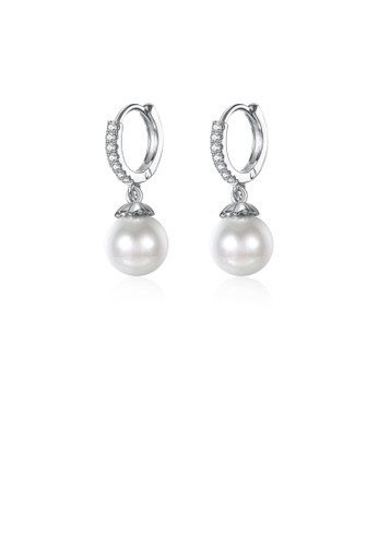 Glamorousky white 925 Sterling Silver Elegant Pearl Earrings with Austrian Element Crystal C60E7AC76C14B3GS_1