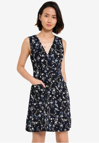 ZALORA navy V- Neck Pocket Detail Dress 9010BAA5EA508EGS_1