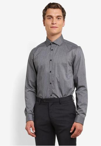 Burton Menswear London grey Charcoal Slim Fit Double Cuff Diagonal Dobby Shirt BU964AA0RQOAMY_1