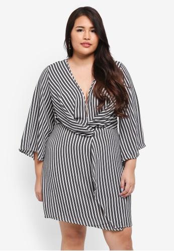MISSGUIDED blue Plus Size Wrap Front Stripe Dress 8A848AA3E2FC17GS_1