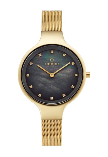 OBAKU gold Women's Analogue Quartz Watch in Mother of Pearl Dial and Gold Mesh Band 4E66AAC06A9A6CGS_1