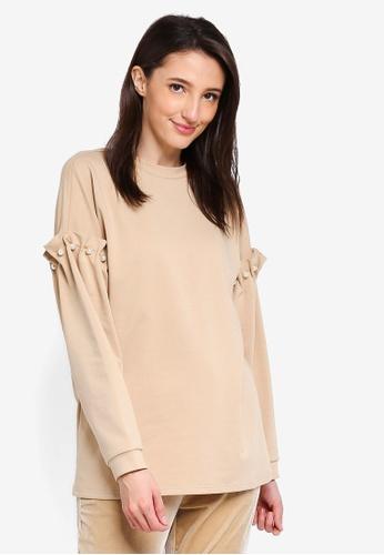 Zalia beige Pearl Embellished Long Sweater EAFDBAA302F0D8GS_1