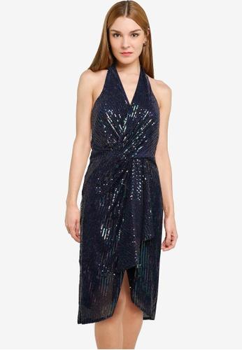 Goddiva multi Handkerchief Sequin Halterneck Midi Dress 899DCAA1CA2699GS_1