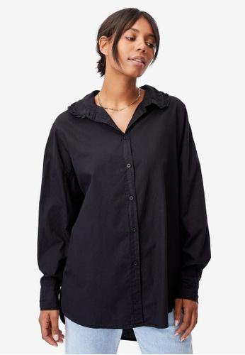 Cotton On black Lily Frill Collar Long Sleeve Shirt 464AEAA0D84B56GS_1