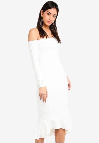 MISSGUIDED 白色 露肩魚尾洋裝 A73D1AA131D514GS_1