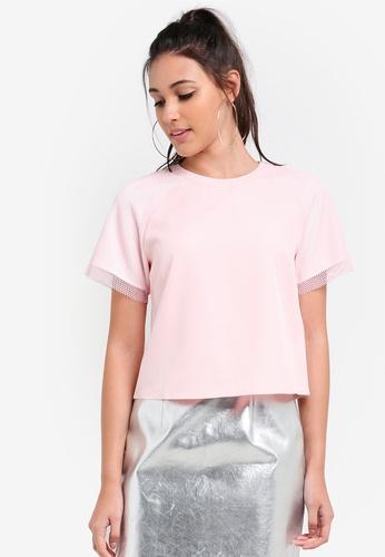 Something Borrowed pink Paneled Sleeve Boxy Tee 10B05AA606AA2BGS_1