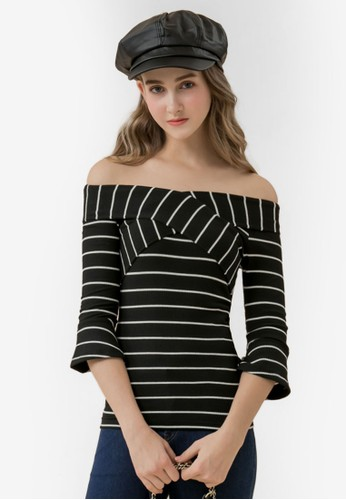 Eyescream black and multi Striped Wide Neck Top 92230AAA4BC718GS_1