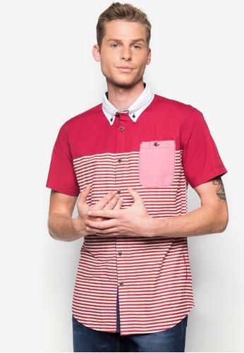 條紋拼接短袖襯衫, 服京站 esprit飾, 印花襯衫