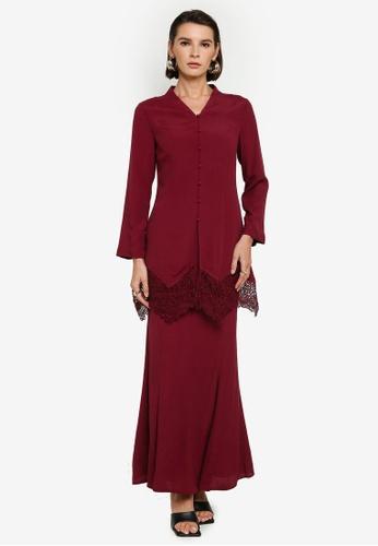 Zalia red Long Kebaya With Border Lace Set 80A28AABB2EB66GS_1