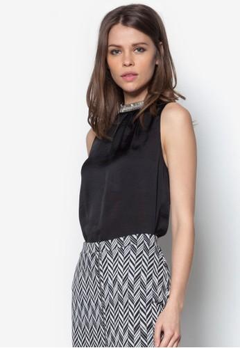 黑色綢緞長版上衣, zalora 手錶 評價服飾, 服飾