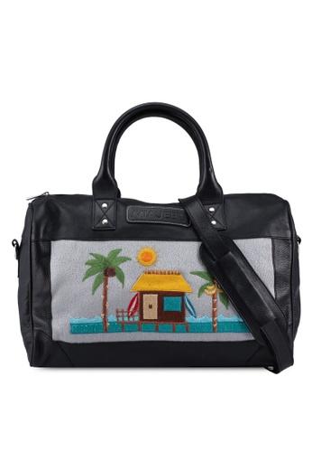 Miajee's black Marciano grande Tropical - Genuine Leather Handcrafted Duffle Bag (small) - Black 485E2AC484A59DGS_1