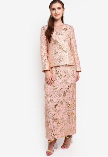 Lubna pink Floral Brocade Blazer Kurung C099EAAB4A7E8EGS_1