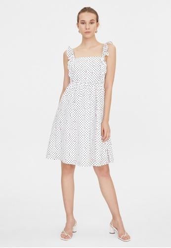 Pomelo white Frill Shoulder Square Neck Dress - White C40E6AAC211AE6GS_1