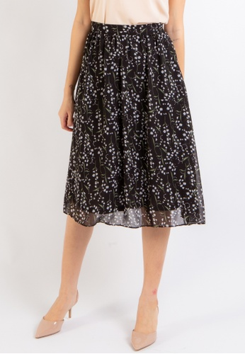Love Knot black Grace Floral Midi Skirt (Black) 4AAA5AA453B44AGS_1