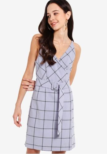Something Borrowed 藍色 Belted Sleeveless Wrap Dress 97046AA9AA0E5AGS_1