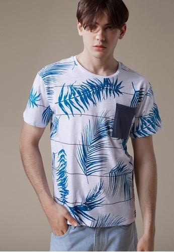 Life8 white and blue Full Print Crew Neck T-Shirt In Bamboo Cotton-03871-White LI283AA0FPETSG_1