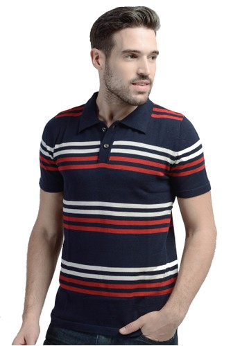 Knitwork Navy Striped Polo Shirt