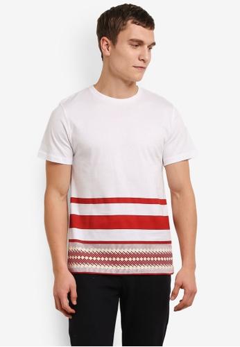 ZALORA white Geometric Stripes Tee ED569AA1C0F8EDGS_1