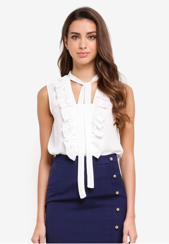 KLEEaisons white Sleeveless Pussy Bow Top With Frills 22635AAD9D6732GS_1