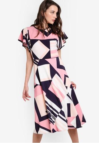 幾何圖形條紋印花起褶袖連身裙, 服飾, esprit女裝洋裝