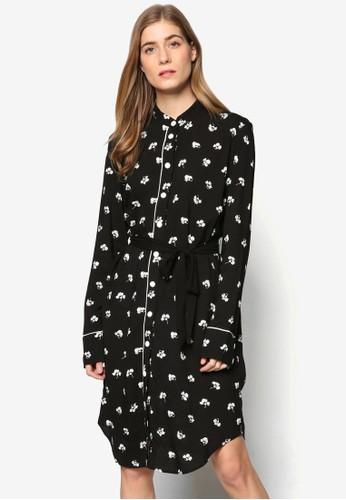 Dandy 單色印花腰帶長袖襯衫連身裙, 服飾,esprit門市 洋裝