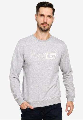 BLEND grey Embossed Logo Sweatshirt A13A7AA2B30E14GS_1