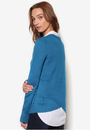 背部裹飾纜esprit香港分店織暗紋羊毛長袖衫, 服飾, 服飾