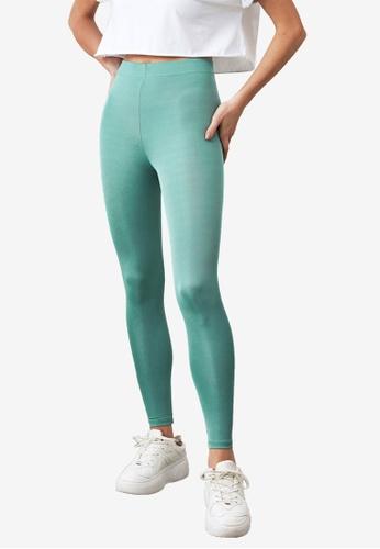 Trendyol 綠色 基本Shiny Disco 緊身褲 F953BAA4E6BA3DGS_1