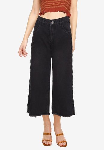 Cotton On black Mid Rise Wide Leg Crop Jeans FC622AAA1A99D1GS_1