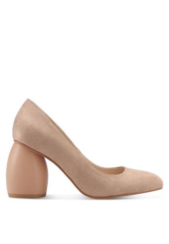 ZALORA 褐色 經典麂皮粗跟高跟鞋 DB6C3SH1441E96GS_1
