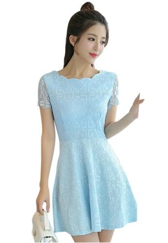 Sunnydaysweety blue New Lace Short Sleeve One Piece Dress UA04276BL SU219AA0GQ76SG_1
