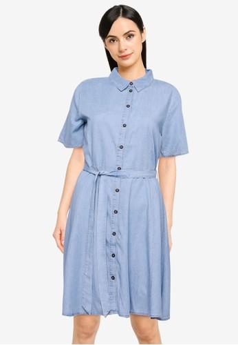 JACQUELINE DE YONG blue JDYBIANKA LIFE S/S ABOVE KNEE DRESS WVN D4C24AAA60D195GS_1