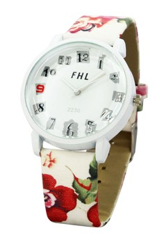 FHL Scrap Numerals White Floral Leather Strap Watch 2230