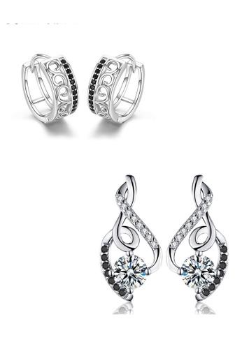 A-Excellence black Premium Elegant Black Silver Earring Set 82C66AC325E935GS_1