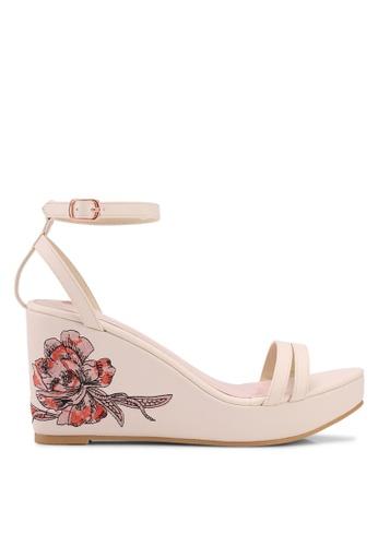 Velvet beige Floral Embroidery Wedges 82E32SH9E7EC37GS_1