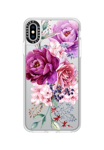 Casetify white and multi Purple Peony Watercolour Classic Grip Case For iPhone XS Max - Frost E35F5AC59DB348GS_1